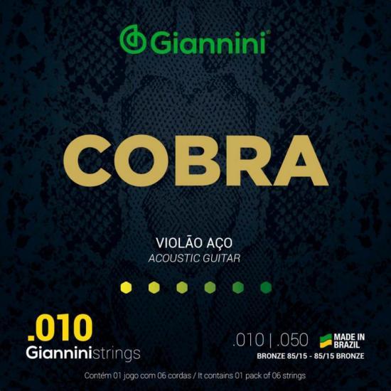 Encordoamento Para Violão GEEFLE Série Cobra Aço 0.10 GIANNINI