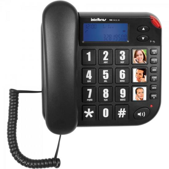 Telefone Tok Fácil ID Preto INTELBRAS (48568)