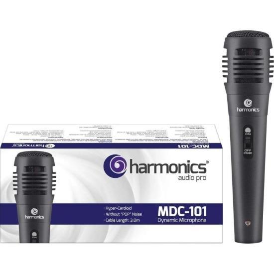 Microfone Dinâmico Supercardióide Cabo 3m MDC101 Preto HARMONICS (51005)