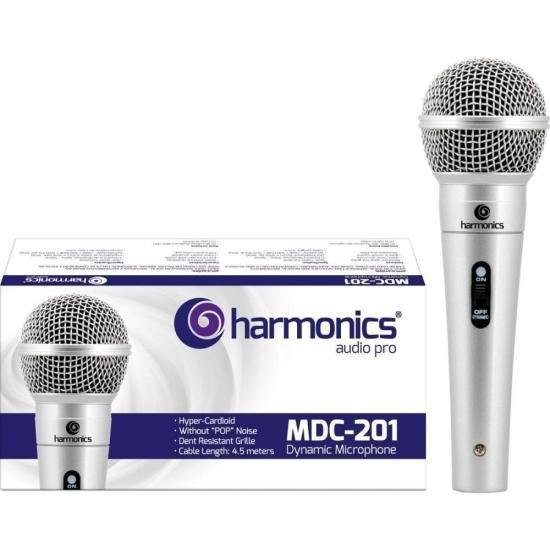 Microfone Dinâmico Supercardióide Cabo 4,5m MDC201 Prata HARMONICS (51006)