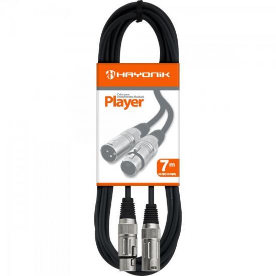 Cabo para Microfone XLR(F) X XLR(M) 7m PLAYER Preto HAYONIK (51233)
