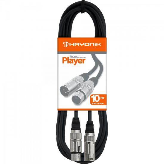 Cabo para Microfone XLR(F) X XLR(M) 10m PLAYER Preto HAYONIK (51234)