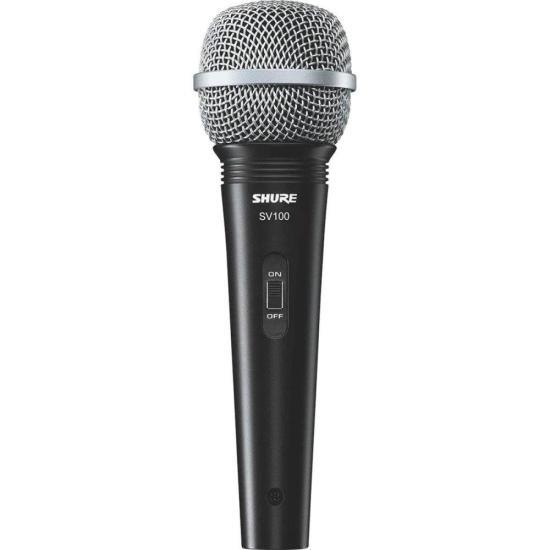 Microfone de Mão Multifuncional Com Fio SV100 Preto SHURE (53238)