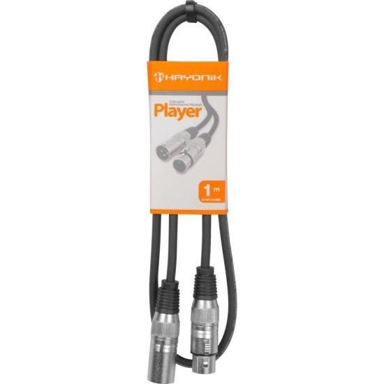 Cabo para Microfone XLR(F) X XLR(M) 1m PLAYER Preto HAYONIK (55069)