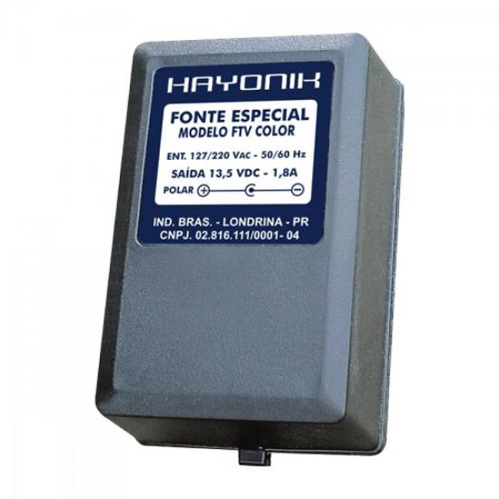 Fonte FTVCOLOR 13,5VDC 1,8A p/TV COLOR Plug C+ HAYONIK (5581)