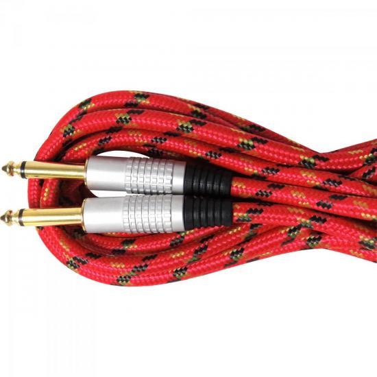 Cabo Guitarra P10 x P10 5m CBGU0005 Vermelho Têxtil STORM (61141)