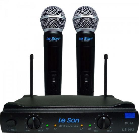 Microfone Duplo sem Fio LS902-UHF-HT/HT Preto LESON (61674)