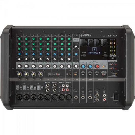 Mesa de Som Analógico Amplificado EMX7 Preto YAMAHA (61775)