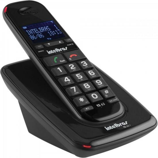 Telefone sem Fio com ID TS-63-V Preto INTELBRAS (62005)