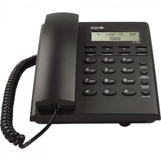 Telefone de Mesa com Identificador de chamada K302 Preto KEO (62011)