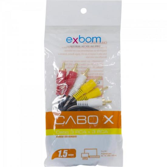 Cabo RCA 1,5m CBX-V3RCA15 Preto EXBOM (63179)