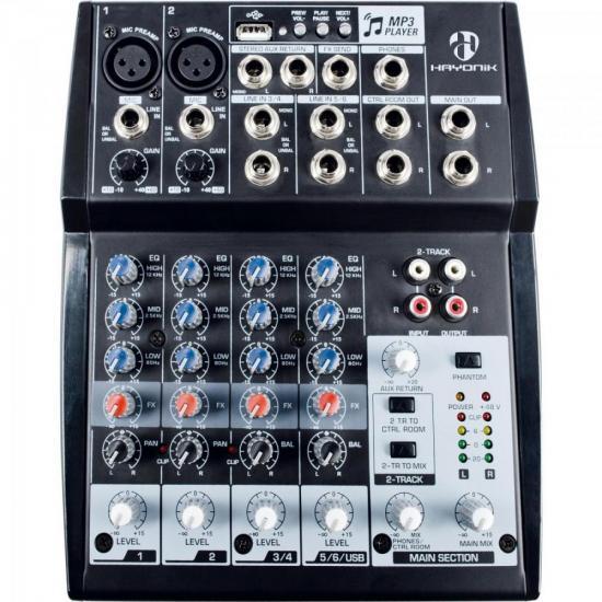 Mesa de Som 8 Canais USB HMX-108 Preta HAYONIK (65279)
