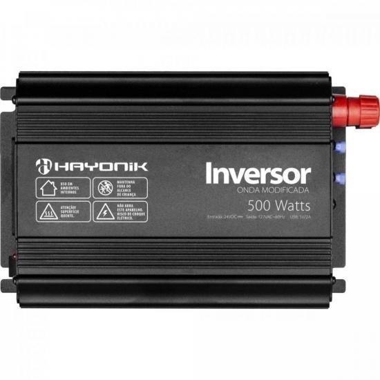 Inversor de Onda Modificada 500W 24VDC/127V USB HAYONIK (68591)