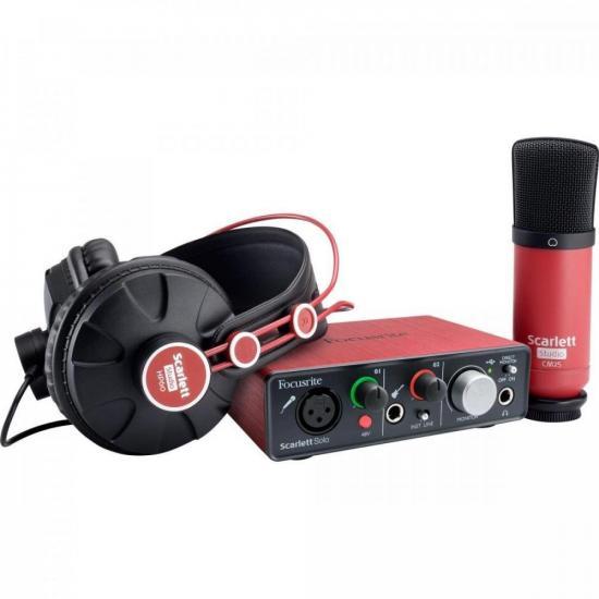 Kit Interface de Áudio + Microfone + Headphone Solo Studio FOCUSRITE (69270)
