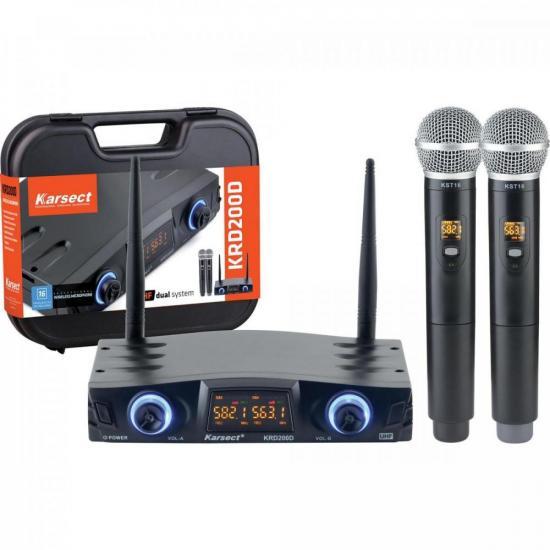 Microfone de Mão Duplo sem Fio KRD200DM KARSECT (69818)