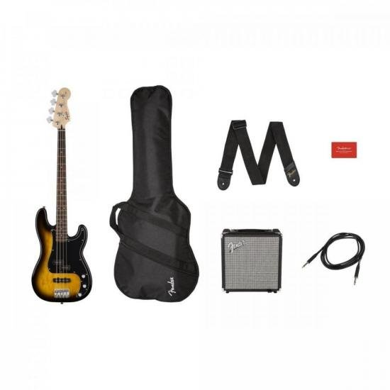 Kit Contrabaixo SQUIER PJ Bass Affinity Sunburst + Rumble 15 + (74240)